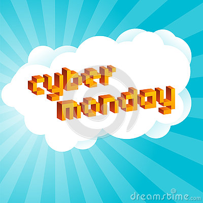 Cyber Monday background. Digital promo text in style of old 8-bit video games. Vibrant 3D Pixel Letters Vector Illustration