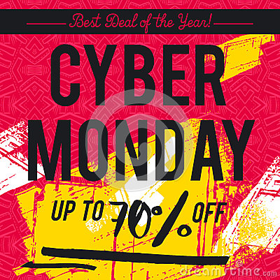 Cyber Monday sale banner on red patterned background, vector Vector Illustration