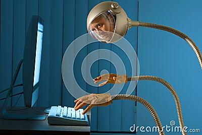Cyber robot internet hacking thief