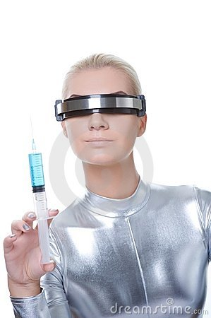 Cyber woman making injection