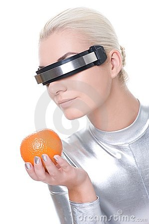 Cyber woman with an orange