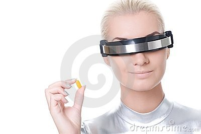 Cyber woman with a pill