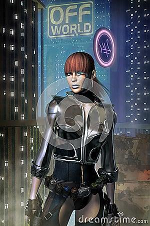 Cyberpunk adventurer freelance girl