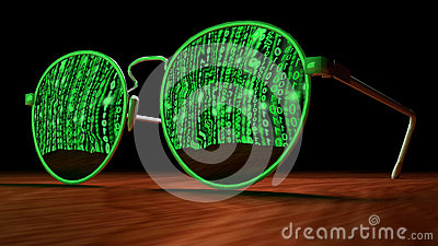 Cybersecurity concept with sunglasses reflecting green matrix sc