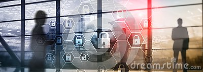 Cybersecurity, Information privacy, data protection, virus and spyware defense Stock Photo