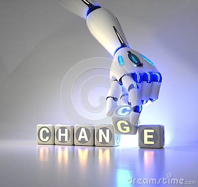 Free Cyborg Robot Hand Changes Text Cube From Change To Chance - Ai Concept Royalty Free Stock Photography - 138998207