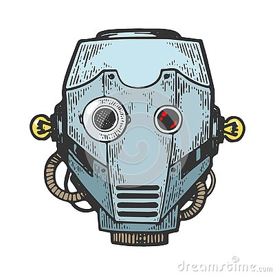 Free Cyborg Robot Head Engraving Vector Illustration Royalty Free Stock Images - 139947139