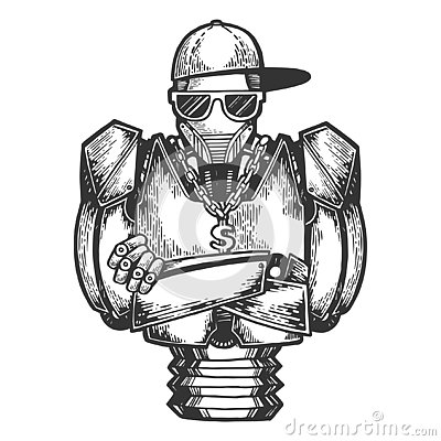 Free Cyborg Robot Rapper Sketch Engraving Vector Royalty Free Stock Image - 141274676