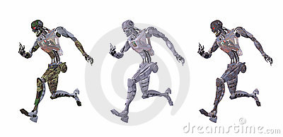 Cyborg or robot running