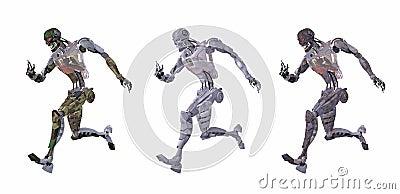 Cyborg or robot running