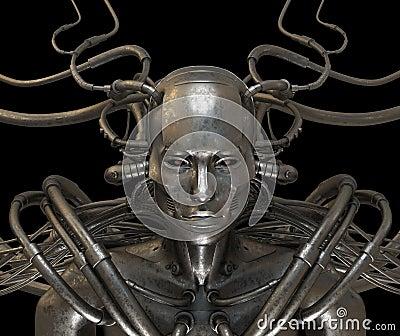Cyborg steel wired man