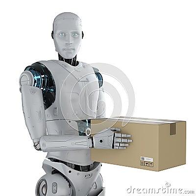 Free Cyborg With Cardboard Box Stock Photo - 143470480