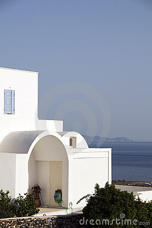 Cyclades greek architecture house with aegean view