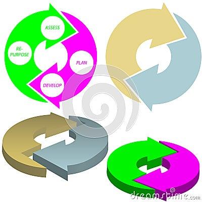 Cycle arrows circle concept set