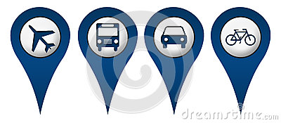 Cycle Plane Bus Car Location Icons