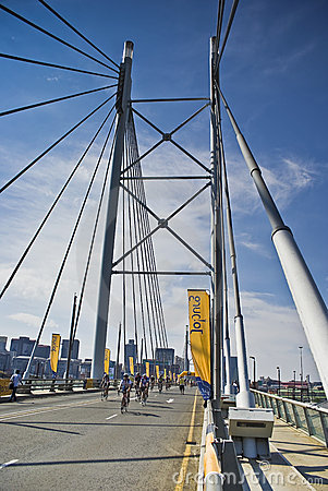 Cycle Race - Mandela Bridge Section Editorial Photo
