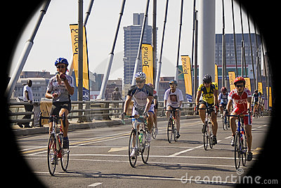 Cycle Race - Mandela Bridge Section Editorial Photography