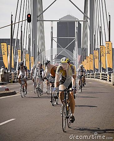 Cycle Race - Mandela Bridge Section Editorial Stock Photo