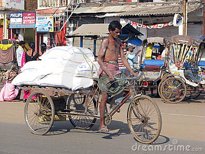Cycle rickshaw in Puri Editorial Stock Image