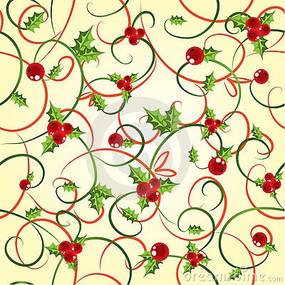 Cyclic background with a holly berry