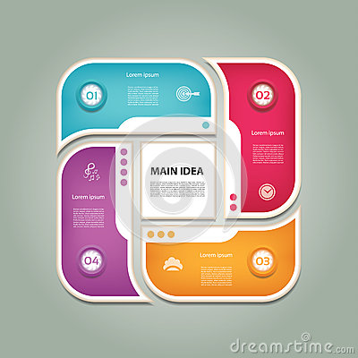 Cyclic diagram with four steps and icons. Vector Illustration