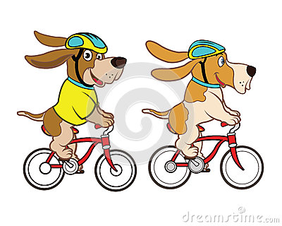 Cycling Dog Mascot