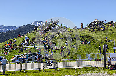 Cycling Fans in Mountains Editorial Photo