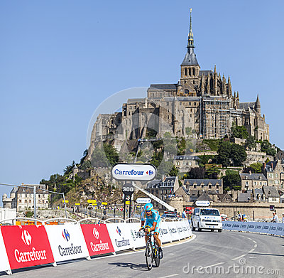 Cycling in Front of Le Mont Saint Michel Editorial Stock Photo