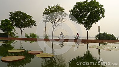 Cycling in Hazy Singapore Editorial Image