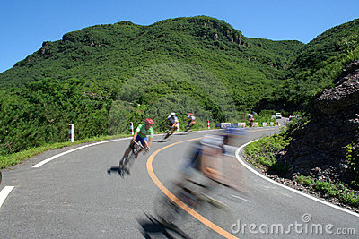 Cycling race on the mountain road