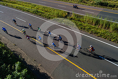 Cycling Race Riders Bridge Highway Editorial Stock Photo