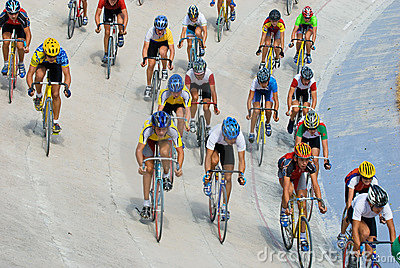 Cycling racing on velodrome Editorial Stock Image