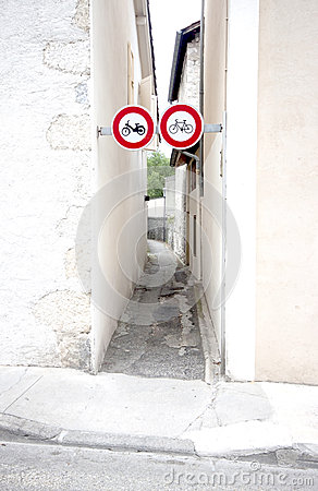 Cycling sign and bycicle part way.