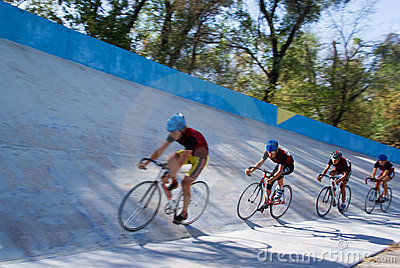 Cycling team racing on velodrome Editorial Stock Image