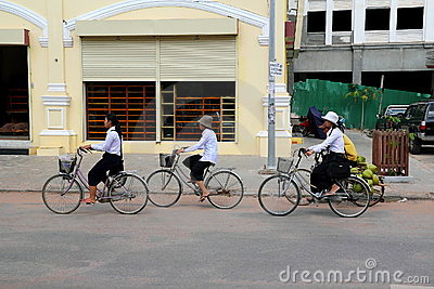 Cycling to School Editorial Stock Photo