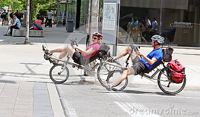 Cycling in Toronto Editorial Stock Image