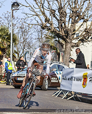 The Cyclist Bardet Romain- Paris Nice 2013 Prologu Editorial Stock Image