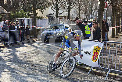 The Cyclist Christensen Mads- Paris Nice 2013 Prol Editorial Stock Photo