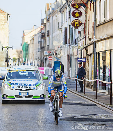 The Cyclist Clarke Simon- Paris Nice 2013 Prologue in Houilles Editorial Photography