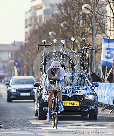 The Cyclist Clement Stef- Paris Nice 2013 Prologue in Houilles Editorial Photo