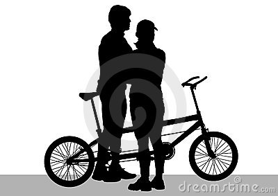 Cyclist couples tandem