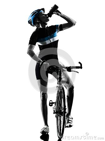 Free Cyclist Cycling Drinking Bicycle Woman Isolated Silhouette Royalty Free Stock Photography - 117314367