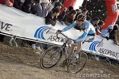 Cyclist on dirt track Editorial Stock Photo