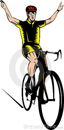Cyclist flashing a victory sign