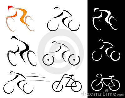 Cyclist - isolated vector icons