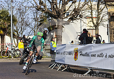 The Cyclist Jerome Vincent- Paris Nice 2013 Prolog Editorial Photo