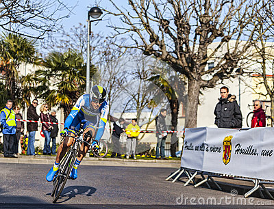 The Cyclist Keukeleire Jens- Paris Nice 2013 Prologue in Houille Editorial Photo