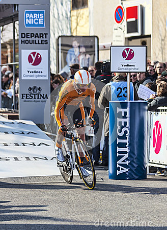 The Cyclist Kocjan Jure- Paris Nice 2013 Prologue in Houilles Editorial Stock Image