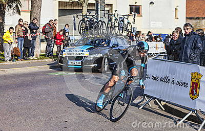 The Cyclist Lopez garcia David- Paris Nice 2013 Prologue in Houi Editorial Stock Image