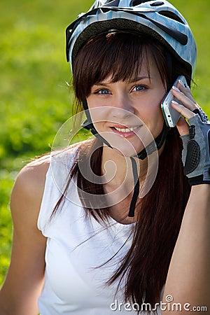 Cyclist making a call